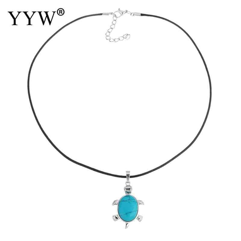 YYW натуральный кварцевый опал лазурит малахит ожерелье из каменных подвесок кожа короткое колье прекрасная Черепаха Животное камень ожерелье s