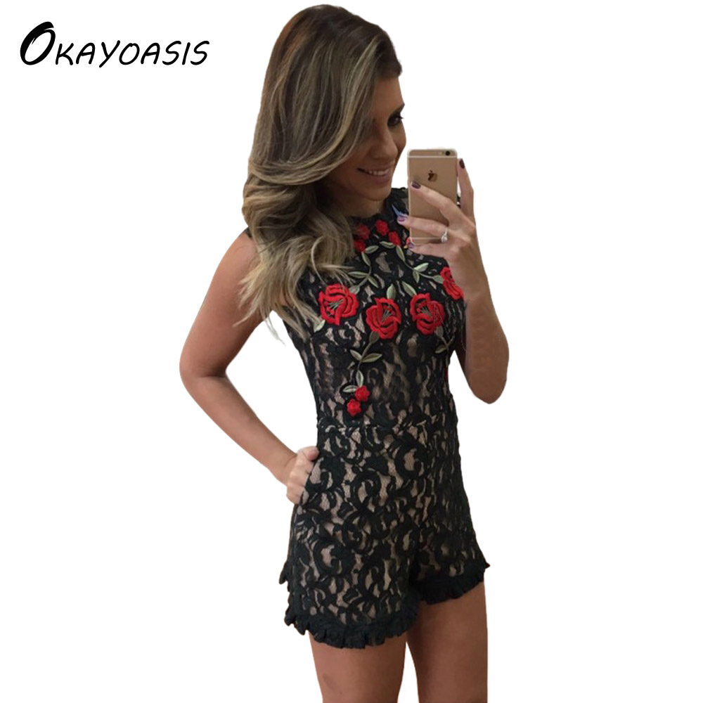 OKAYOASIS Fashion 2020 Sexy Women Print Embroidery Playsuit Casual Vintage Short Lace Rompers Womens Jumpsuit