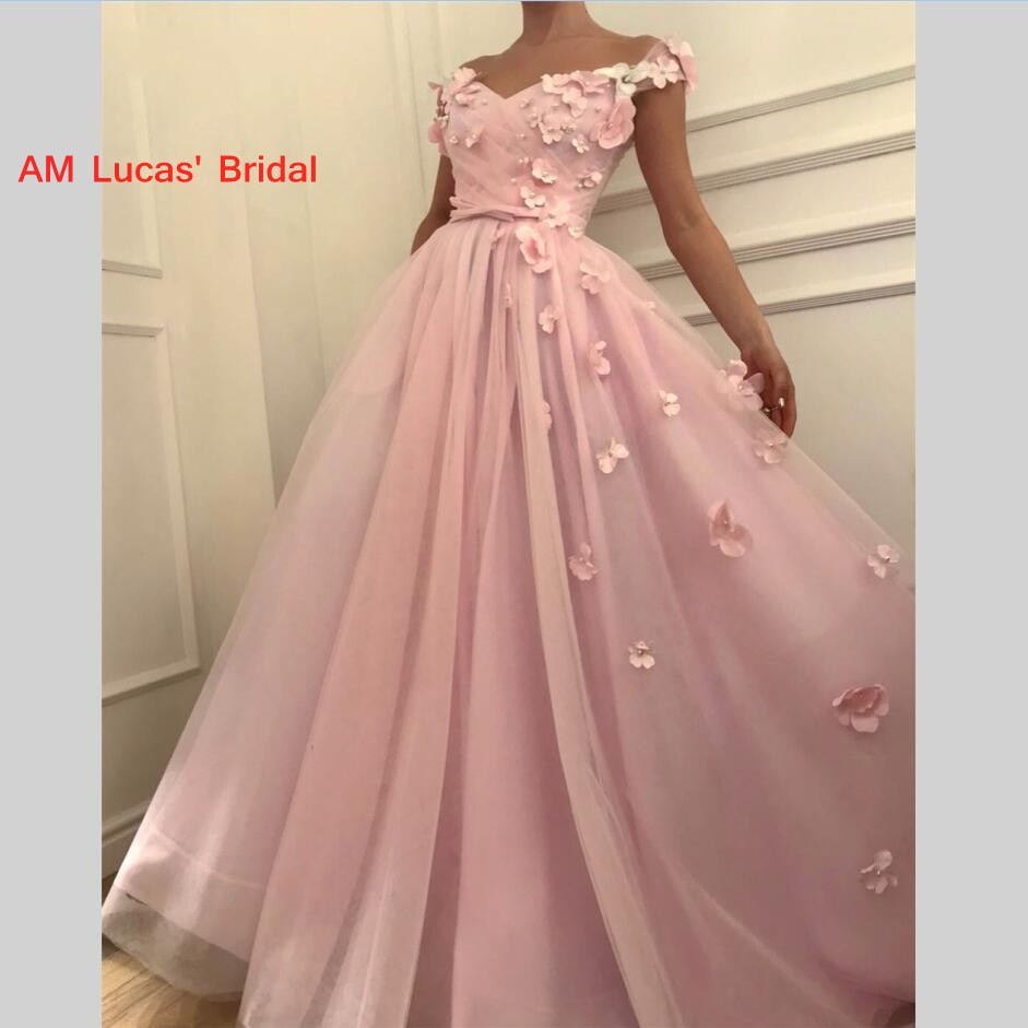 Saudi Arabic Long   Evening     Dresses   Prom   Dress   Flowers Tulle New Women Formal Party Gowns Vestido De Festa