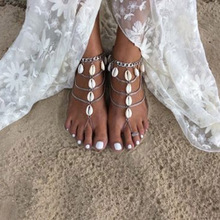 Fashion Women Multilayer Shell Tassel Pendant Anklet Chain Foot Beach Barefoot Sandals Jewelry Gifts KQS8