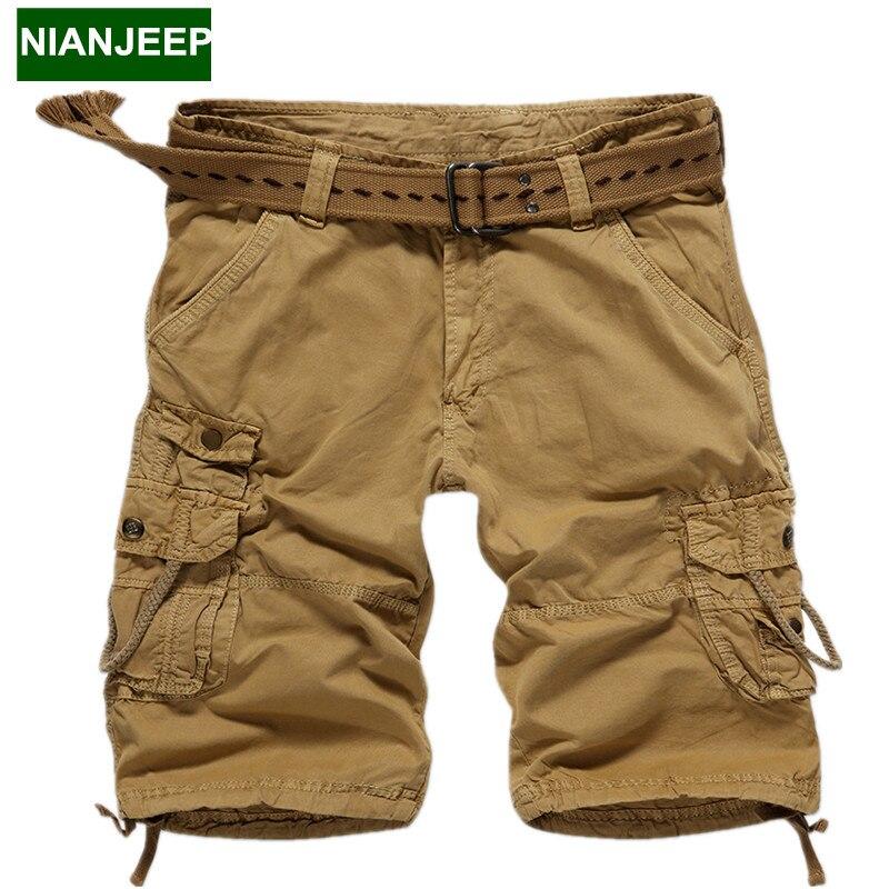 Brand New mens Cotton cargo shorts pants cotton casual loose man Knee length pants multi-pocket Tactical male short pants 29-38