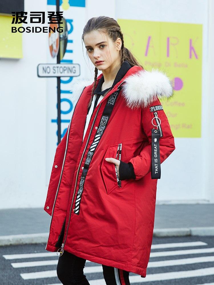 BOSIDENG donne di inverno giù giacca X-lungo giù cappotto di fondo vent RUBINETTI cappello reale staccabile della pelliccia addensare Lungo ALLENTATO parka B70142528