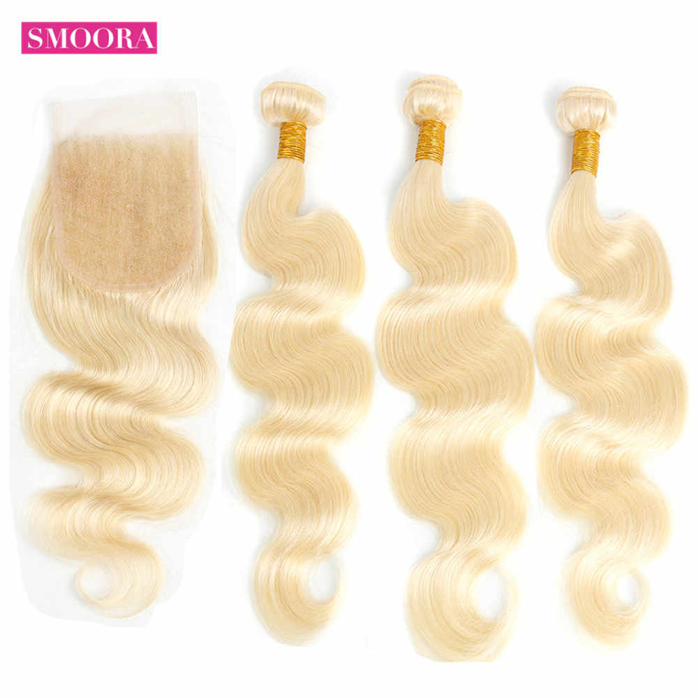 Smoora 613 Bundles with Closure Body Wave Peruvian Non Remy Human Hair Weave 3 Pcs Blonde Bundles with Closure 4*4 Free Part