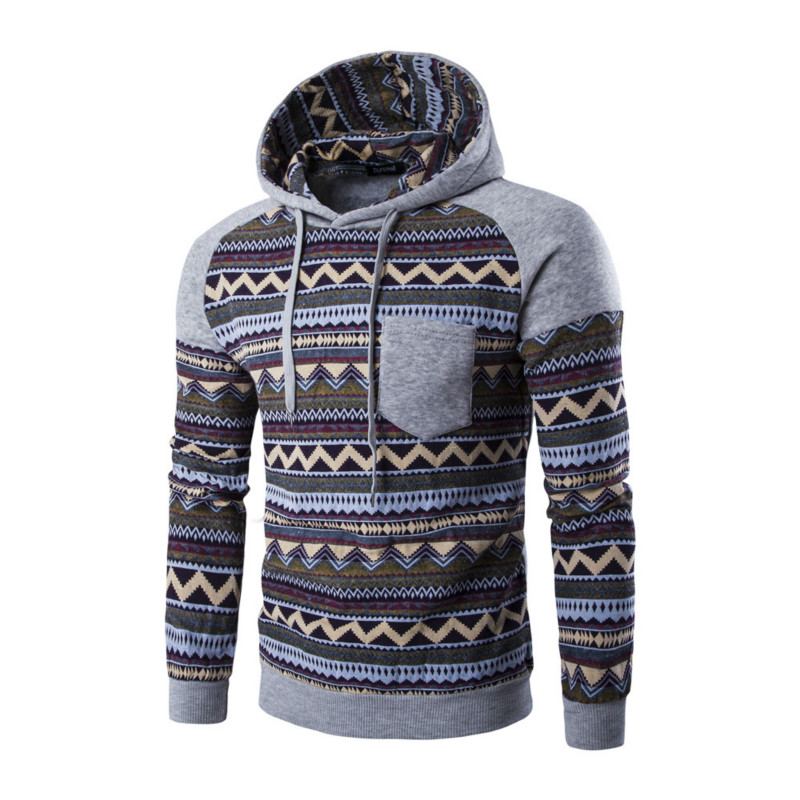 cceee5ad0ba4 Raglan Sleeve Aztec Tribal Print Hoodie Teen Men Color Block Geometric  Pattern Pocket Hooded Sweatshirt Bohemia Winter Outfits-in Hoodies &  Sweatshirts from ...