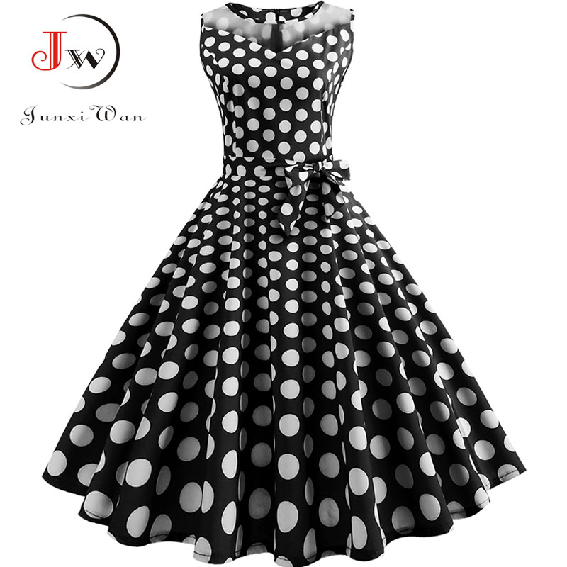 cdfcc0d8fa1 Black Polka Dot Summer Dress Women Lace Patchwork Retro Swing Sundress 50s  60s Elegant Vintage Rockabilly Dresses Party Office