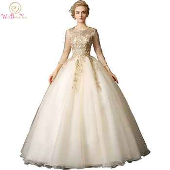 Walk Beside You Gold Quinceanera Dresses vestidos de 15 anos debutante Ball Gowns With Lace Appliques 3/4 Long Sleeves Beaded - DISCOUNT ITEM  11% OFF All Category