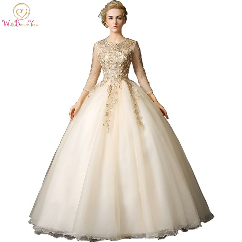 Walk Beside You Gold Quinceanera Dresses vestidos de 15 anos debutante Ball Gowns With Lace Appliques 3/4 Long Sleeves Beaded