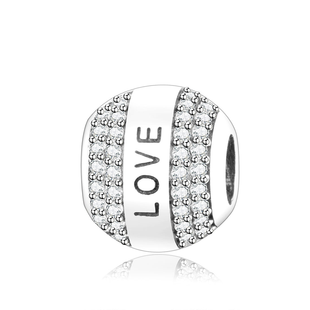 925 Sterling Silver Love Round Charms Beads With Clear CZ Fits Original Pandora Charm Bracelet DIY Jewelry Accessories berloque