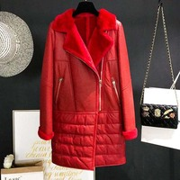 women's genuine sheepskin leather shearing long coat & jacket real natural woolen cashmere lining ladies winter clothing red