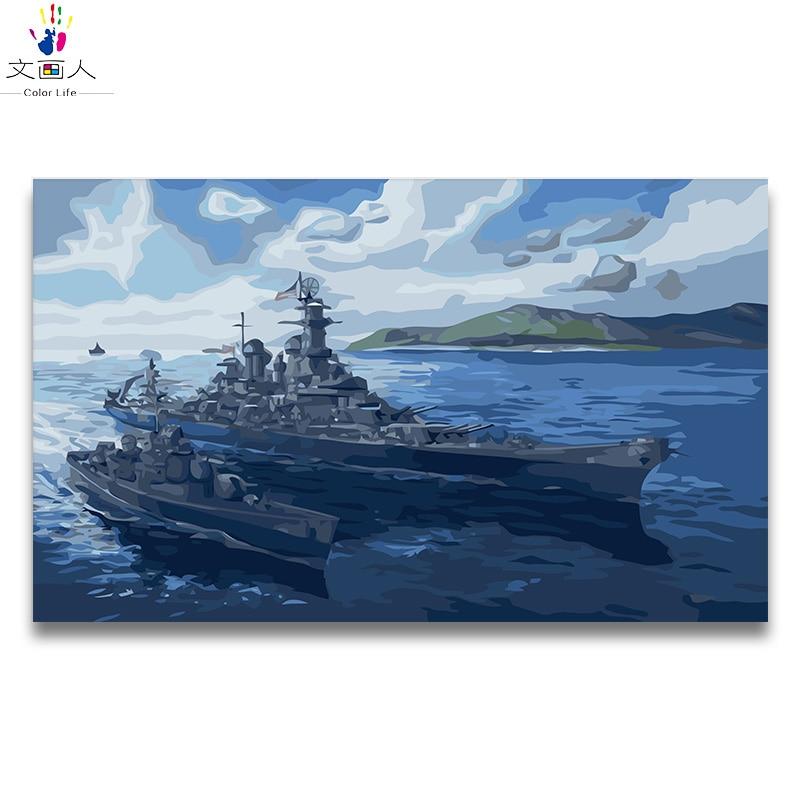 Digital Minyak Lukisan Dengan Angka Tempur Kapal Perang Tank