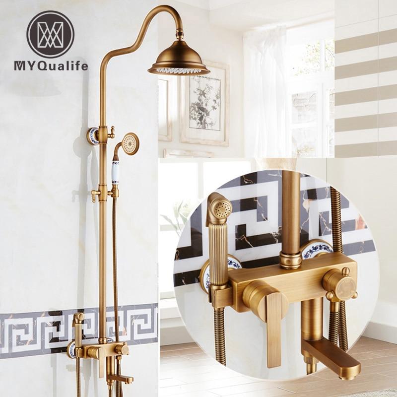 Antique Brass Shower Bathtub Faucet Sets 8 Rainfall Shower Panel with Hand Shower Bidet Sprayer Head