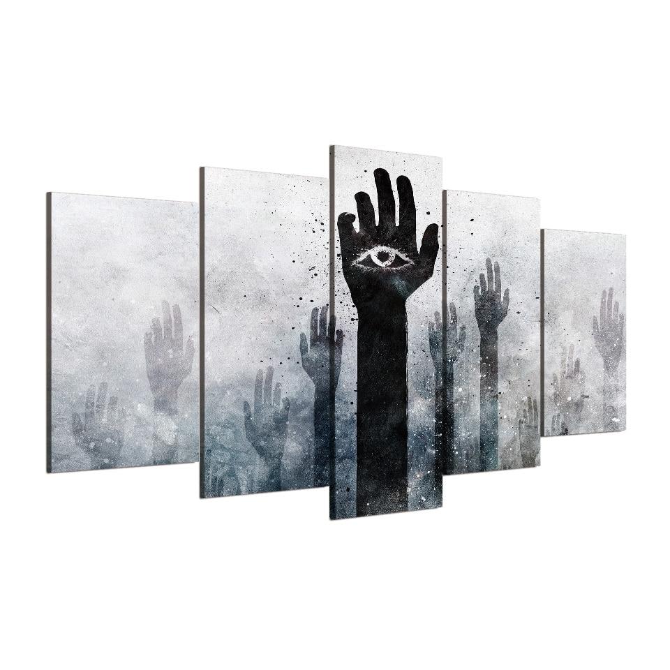 5 unids/set enmarcado HD impreso ojo extraño manos subida pared arte ...
