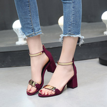 Elegant Metal Buckle Ankle Strap Open Toe Sandal