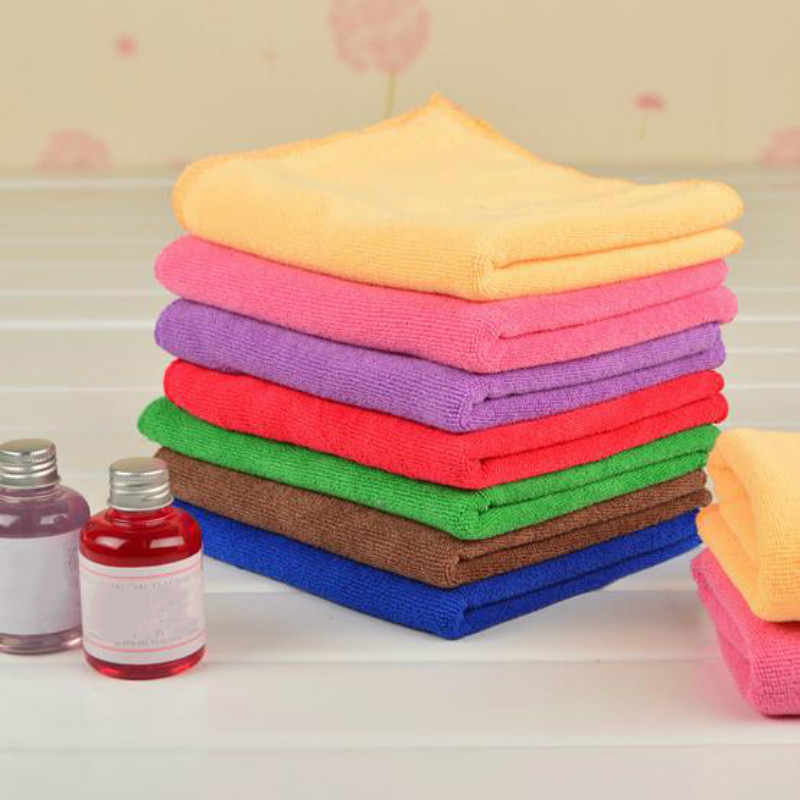 6Pcs/lot 25x25cm Microfiber Car Cleaning Towel Microfibre Detailing Polishing Scrubing Hand Towel Car Wash