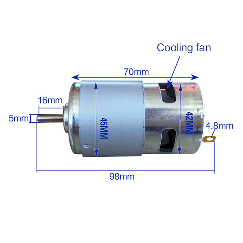 795 DC Motor Large Torque High Power DC12V-24V Universal Motor Double Ball Bearing Mute High Speed Round Axis 60W DC Motor