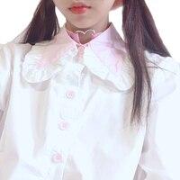 Sommer neue Japanische Rüschen umlegekragen adrette Shirt jugendliche Junge Mädchen Süße Nette Kawaii Rosa Schwarz Halben hülse bluse