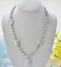 ddh003399 gray baroque coin freshwater pearl pendant necklace(China)