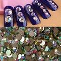 2058 NoHF Diferença de Tamanho de Cristal Strass Cristal AB Rodada Plano Voltar Non Hot fix Rhinestone Para Nail Art Glue Em strass