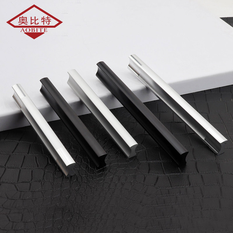 AOBITE Modern Long 128mm Cabinet Handle Minimalist Wardrobe Black Silver Door Handle Aluminum Small Drawer Pulls Hardware 201