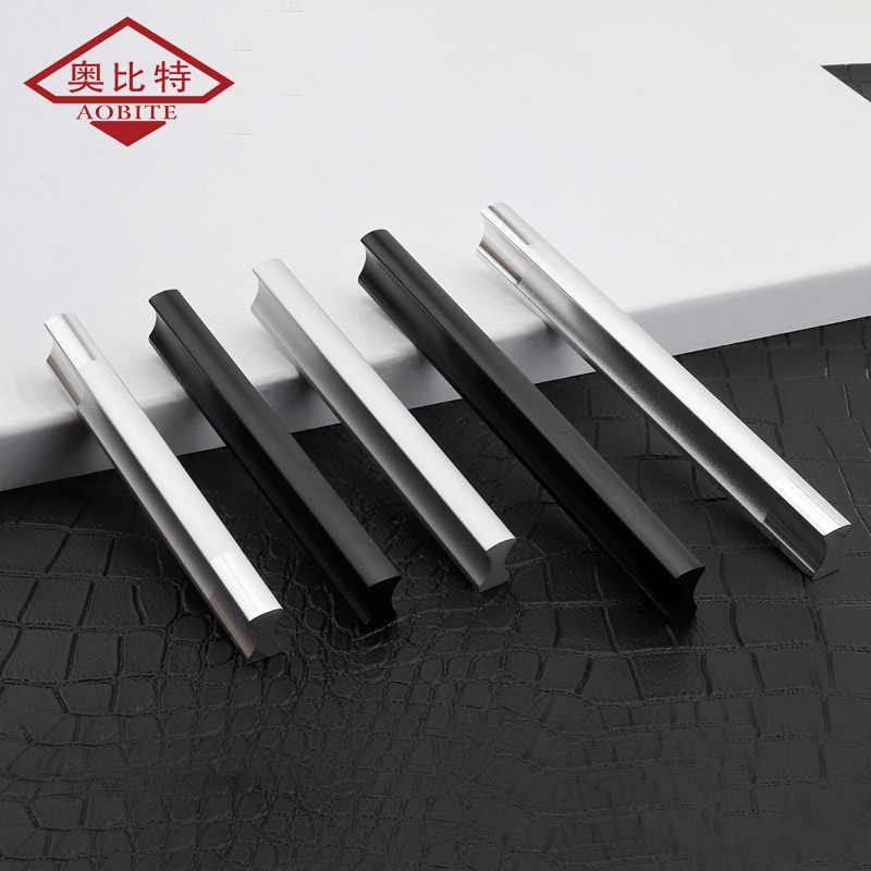 AOBITE Moderne Lange 128mm Schrank Griff Minimalistischen Kleiderschrank Schwarz Silber Tür Griff Aluminium Kleine Schublade Zieht Hardware 201