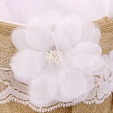 Cesta de arpillera Vintage hecha a mano de yute con encaje flor rústica de la boda