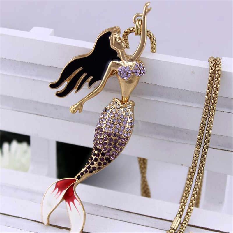 ENZE ใหม่ผู้หญิงแฟชั่นเครื่องประดับ Elegant mermaid อารมณ์จี้สร้อยคอยาวสร้อยคอขายส่ง