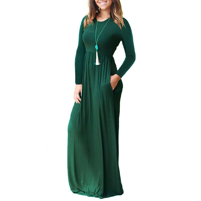 Однотонное платье для беременных с круглым вырезом и длинным рукавом; длинное вечернее платье для беременных; Одежда для беременных; Vestidos ...