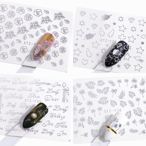 Image 3 - 16pc/set Nail Sticker Decal Water Sliders Holo Sliver Flower Necklace Design Nail Accessories Manicure Decor Nail Art SASTZ YS16
