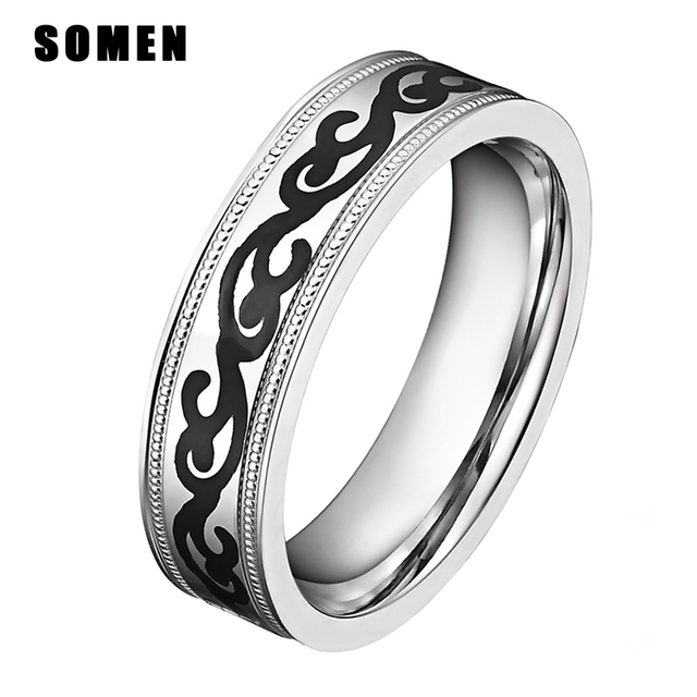 brand luxury rings 6mm silver stainless steel ring women gothic wedding rings engagement ring male band - Goth Wedding Rings