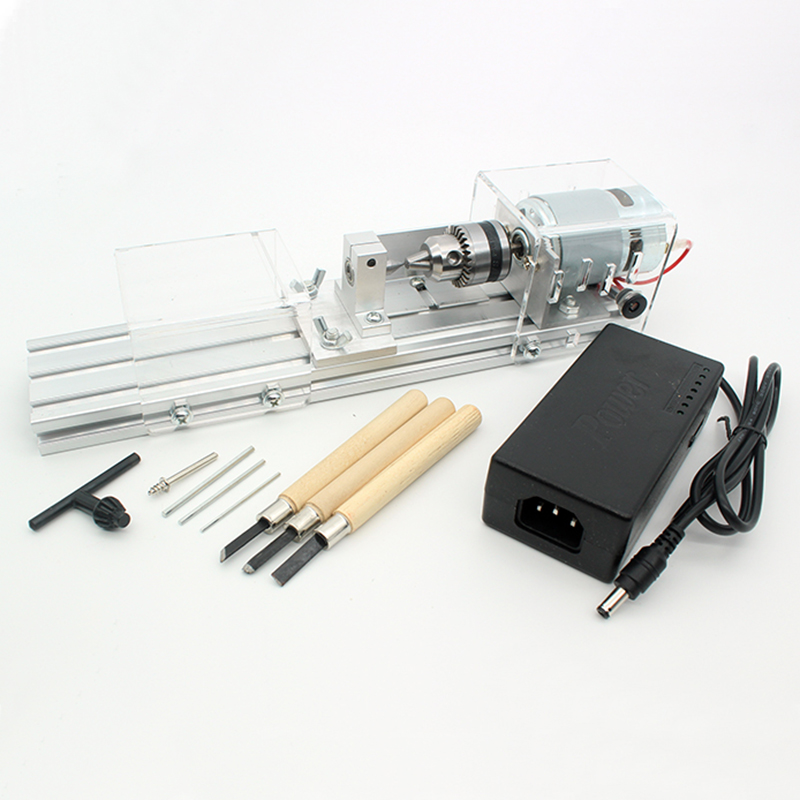 Mini Lathe Beads Machine Woodworking DIY Lathe Polishing Cutting Mini Drill Rotary Tool Standard Set with Power Supply DC 24V dc 3v 24v mini electric hand drill rotary tool diy 385 motor w 24v power supply g205m best quality