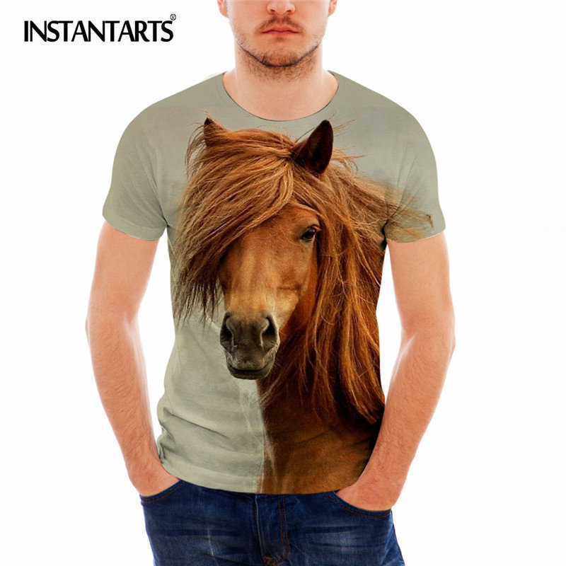 INSTANTARTS Brand Clothing Men Tshirt Horse Pattern Male Polyster T Shirt Casual Men's Fit Short Sleeve Tee Shirt Summer Shirts image