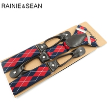 RAINIE SEAN Mens Braces For Trousers Suspenders Men Red Plaid Belt Suspender British Vintage Brand Button
