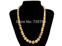 xiuli 001316 5 12mm Natural Genuine Titanium Gold Rutilated Quartz Crystal Beads Necklace AAA