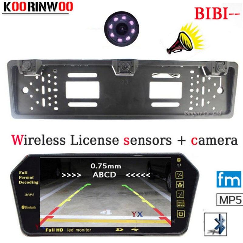 2.4G Wireless Adopt HD Car Monitor Bluetooth MP5 FM 1024*600 Parktronic CCD Car Rear view camera Car parking Sensors Alarm 2017