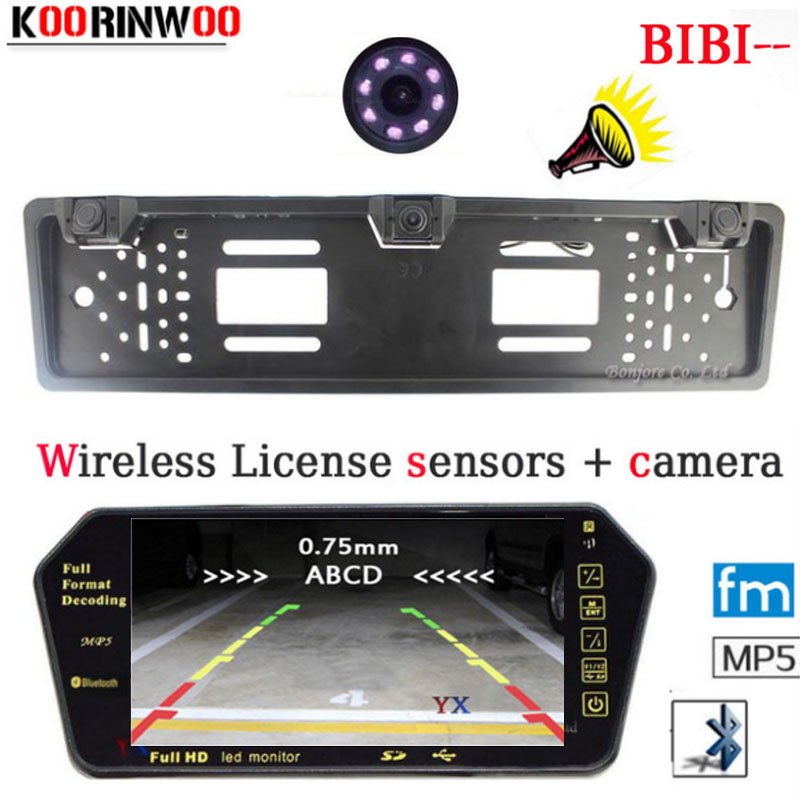 Koorinwoo Wireless Adopt HD Car Monitor Bluetooth MP5 FM 1024*600 Parktronic CCD Car Rear view camera Car parking Sensors Alarm koorinwoo car parking sensors 6 alarm