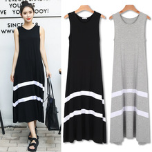 2019 Summer Dress Women New Modal large size dress Korean version of the loose sleeveless swing stitching