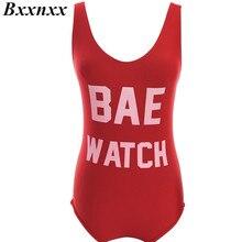 bxxnxx 1 pc bae watch/worst behavior one piece swimsuit letter print swimwear women red black bodysuit backless monokini