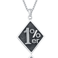 Thời trang Vòng Cổ Làm Bằng Thép Không Gỉ Với Big Rhombus Shape Pendant Với Stamp 1% er Cho Phụ Nữ và Người Đàn Ông Thời Trang
