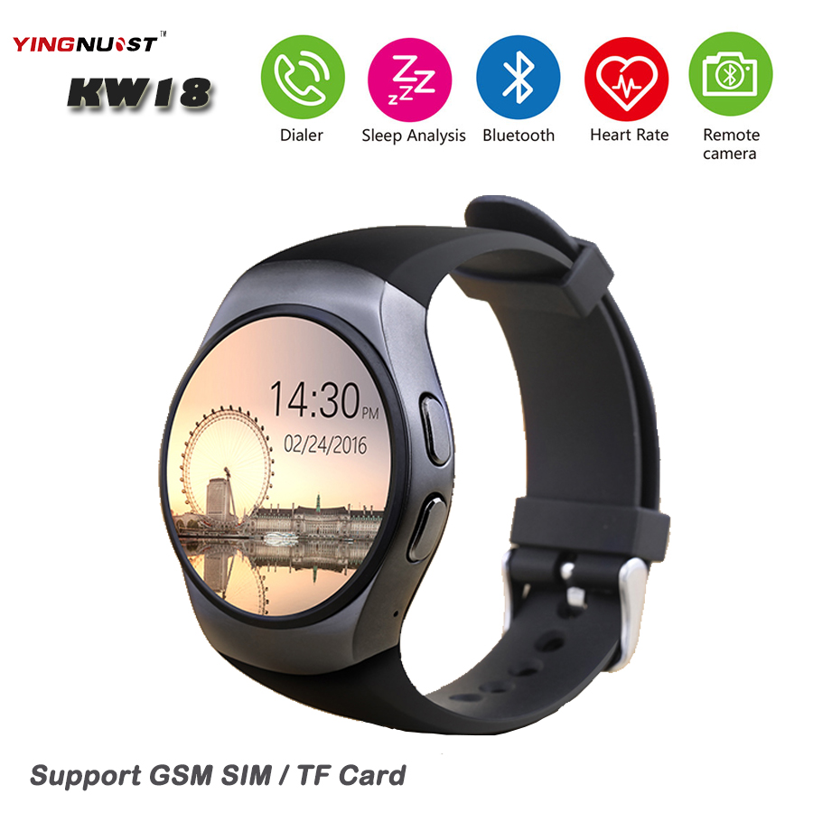 ФОТО KW18 Bluetooth Smartwatch SIM TF Card 1.3'' IPS LCD Smart Wristwatch Heart Rate Anti lost for IOS Android Phone Wearable Clock