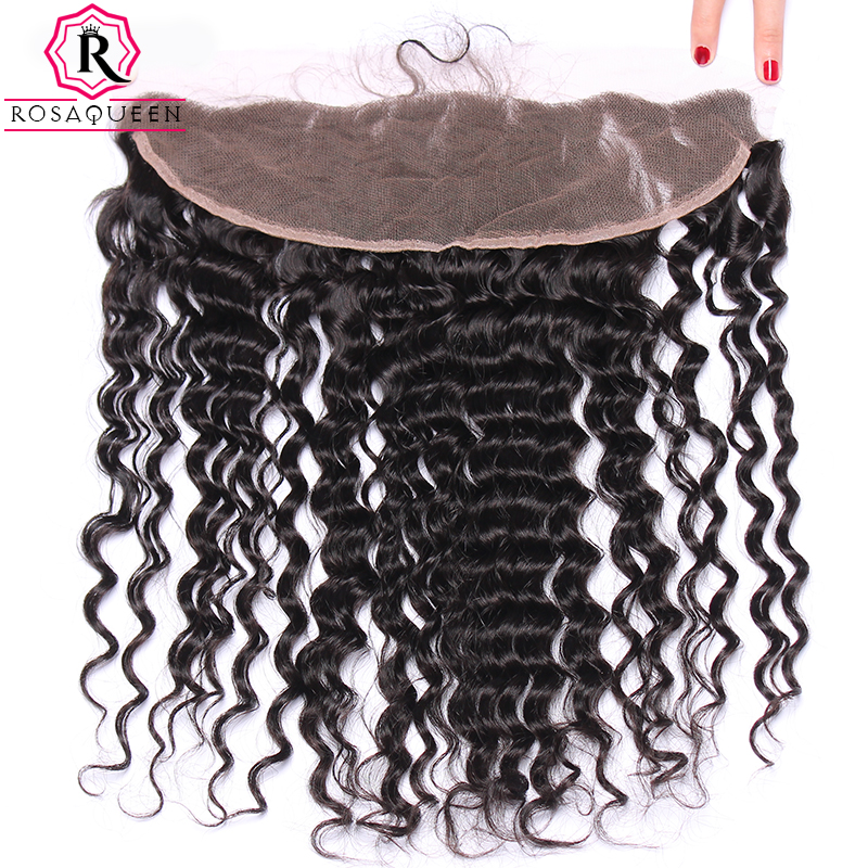 Rosa Queen 13x4 Lace Frontal Closure With Baby font b Hair b font Deep Wave Brazilian