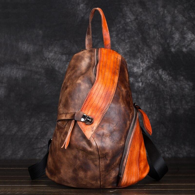 Men Women Genuine Leather Backpack Daypack Knapsack First Layer Cowhide Patchwork Brush Color Travel Bag Vintage