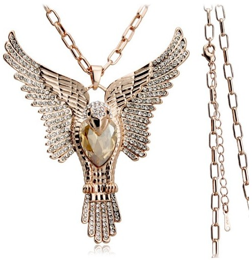 tiger totem Free Shipping full AAAA+ rhinestones Brave Fearless Flying Eagle pendant necklace Sweater chain girl fashion jewelry