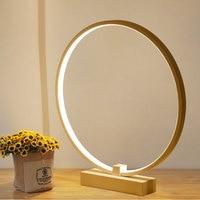 Table Lamps Modern Minimalist Round Shape LED Table Lamp Wooden Bracket Study Desk Lamp Decor Table Light For Reading Bedroom