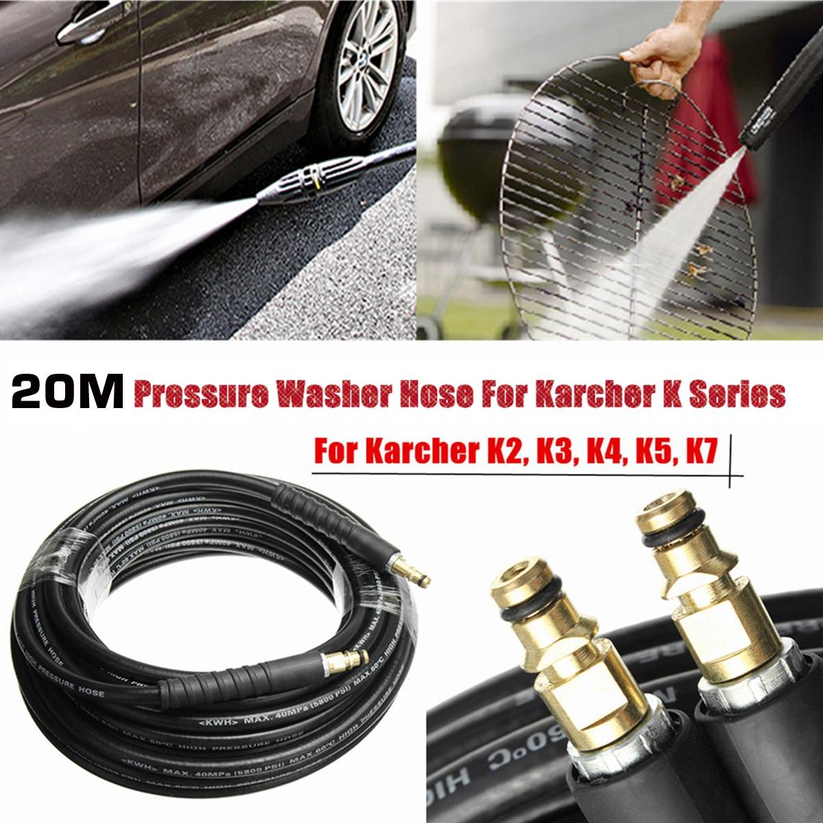 Nuovo 20 M/65ft 1/4 Pressione di Lavaggio Auto Tubo Flessibile Con Giallo Quick Connect Adattatore Per Karcher K Serie
