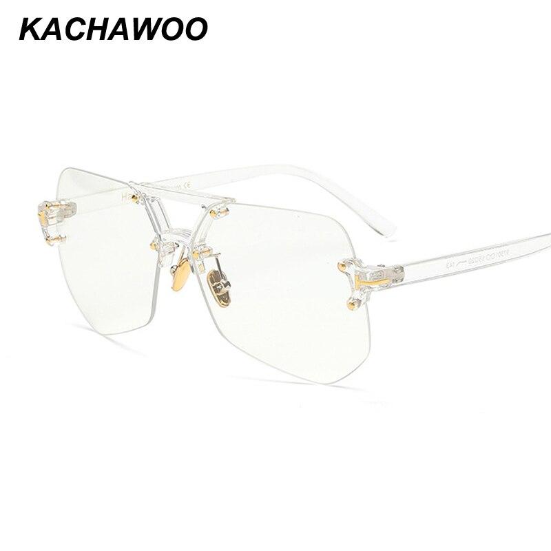 Kachawoo randlose brille für männer schwarz leopard unregelmäßige transparent brillen für frauen zubehör 2018 heißer verkauf