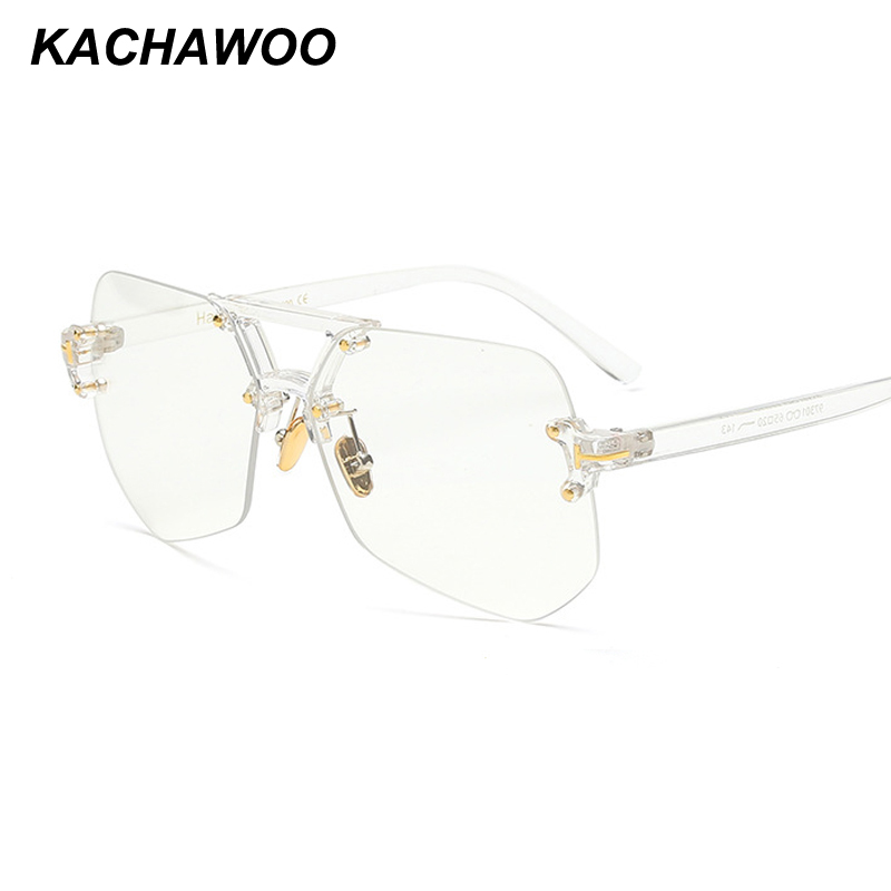 Kachawoo Rimless Glasses For Men Black Leopard Irregular Transparent Eye Glasses For Women Accessories 2018 Hot Sale