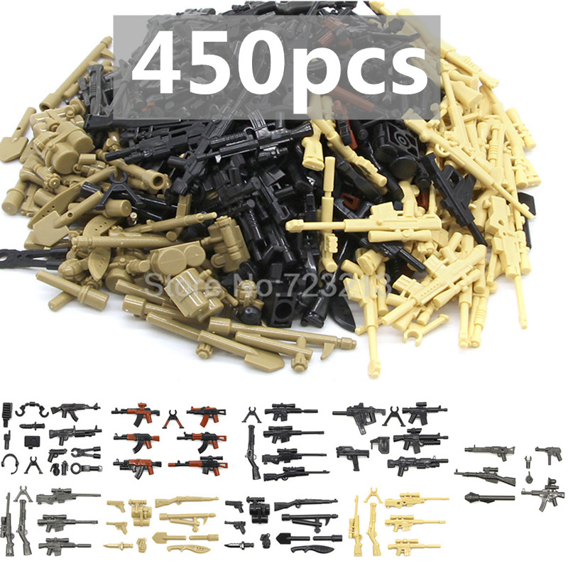 все цены на Military 450pcs Weapon Parts Accessories PUBG Gun Headset Interphone MOC Multicolour Building Blocks Model Bricks Toys Children