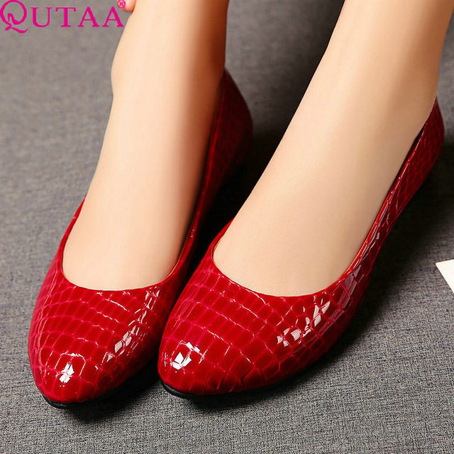 QUTAA Red Patchwork Slip On Ladies Summer Shoes Wedge High Heel PU Low leather Woman Pumps Pointed Toe Wedding Shoe Size 34-39