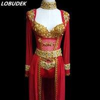 Блестящие золотые блестки для платья бюстгальтер боди с кристаллами красное детское платье с пышной юбкой этап наряд женские певец и ведущ