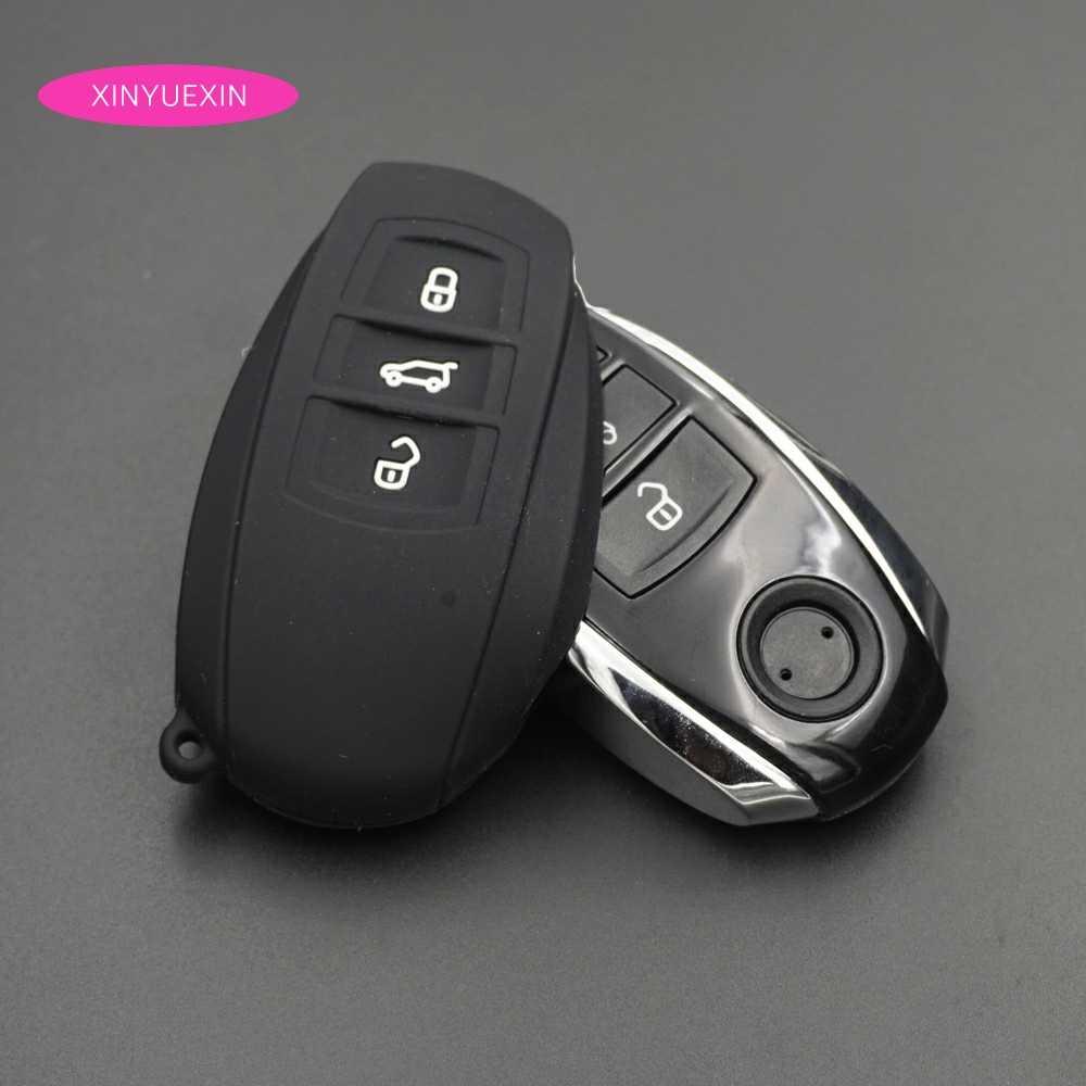 Xinyuexin Titular Da Tampa Do Caso Fob Chave Do Carro de Borracha de Silicone Pele para Cartão VW Touareg Chave Inteligente 3 Botão de Sílica Gel Car Styling